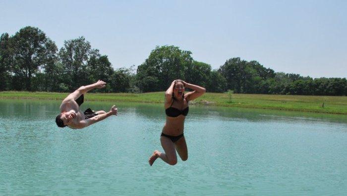 jumping in lake