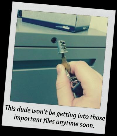 key stuck in file cabinet