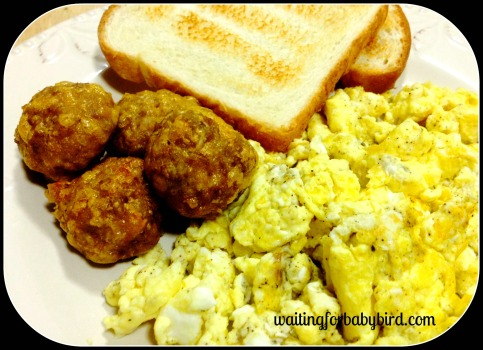 eggs and sausage balls